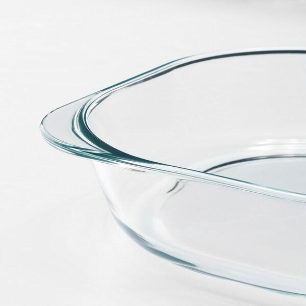 FÖLJSAM صحن فرن, زجاج شفاف, 24.5x24.5 سم