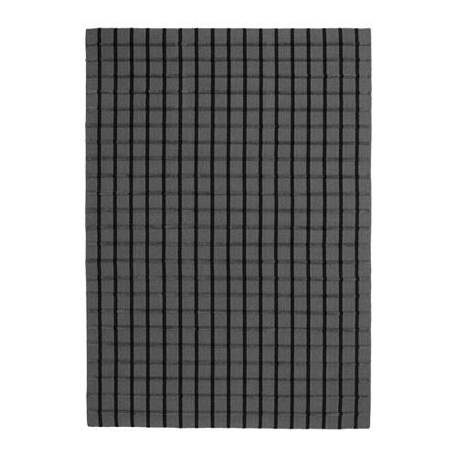 FOULUM Rug, flatwoven, grey handmade grey, black