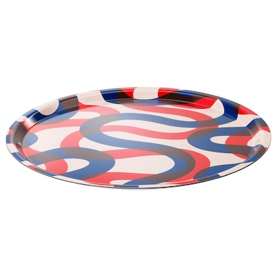 FRAMKALLA Tray, patterned, 43 cm