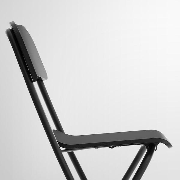 FRANKLIN مقعد مرتفع مع مسند ظهر، قابل للطي, أسود/أسود, 63 سم
