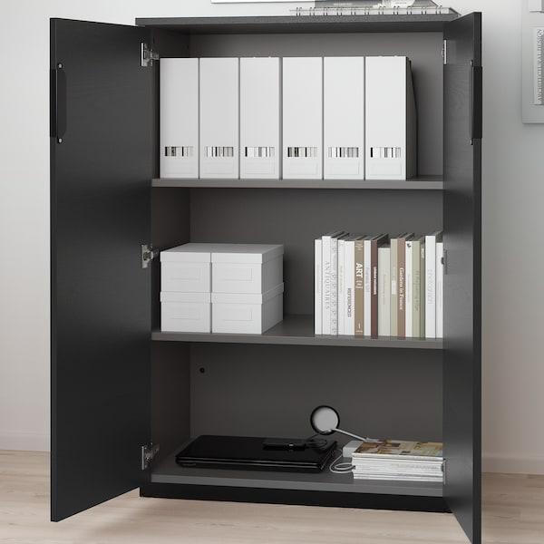 GALANT خزانة مع أبواب, قشرة الدردار لون الأسود, 80x120 سم