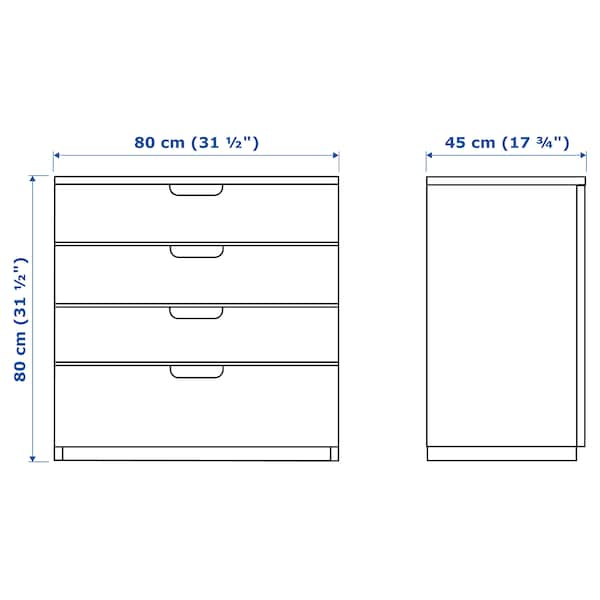 GALANT وحدة أدراج, قشرة سنديان مصبوغ أبيض, 80x80 سم