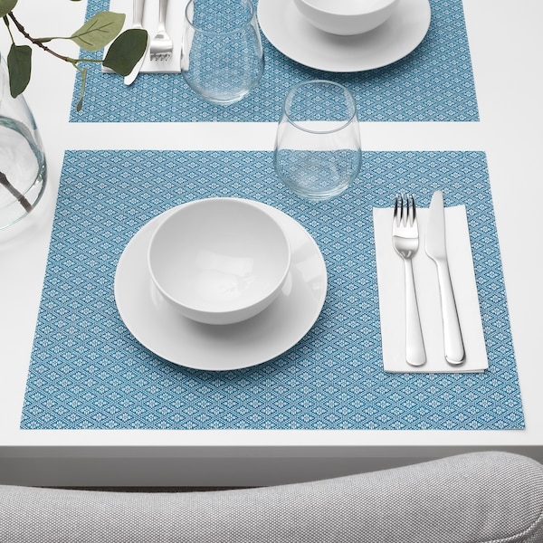 GALLRA Place mat, blue/patterned, 45x33 cm