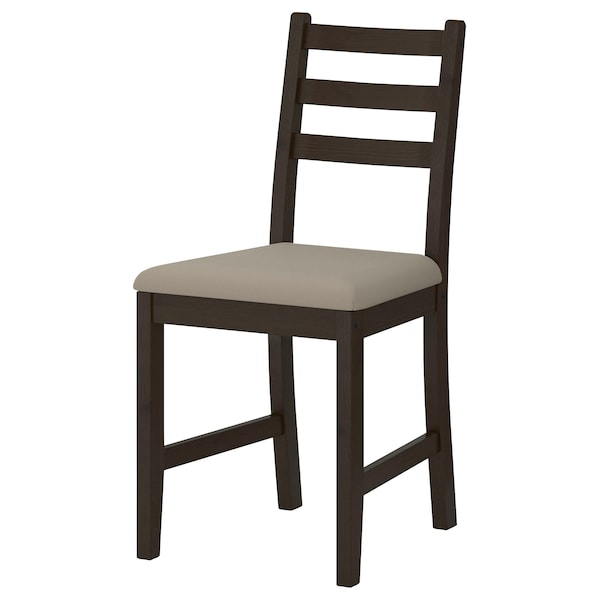 GAMLARED / LERHAMN Table and 2 chairs, light antique stain black-brown/Vittaryd beige, 85 cm