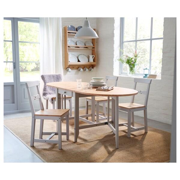GAMLEBY Gateleg table, light antique stain/grey, 67/134/201x78 cm