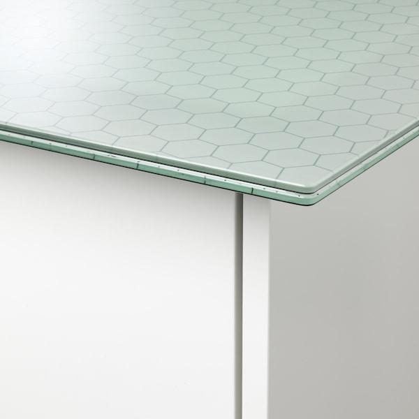 GLASHOLM / ALEX طاولة, زجاج/شكل العسل أبيض, 148x73 سم