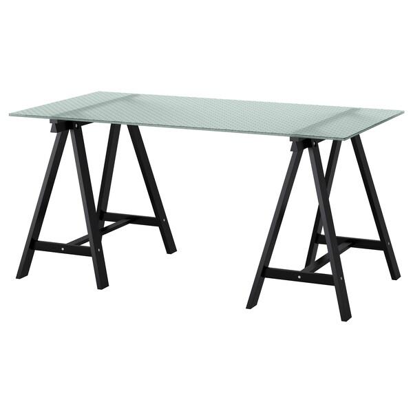 GLASHOLM / ODDVALD طاولة, زجاج/شكل العسل أسود, 148x73 سم