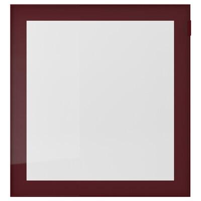 GLASSVIK Glass door, dark red-brown/clear glass, 60x64 cm