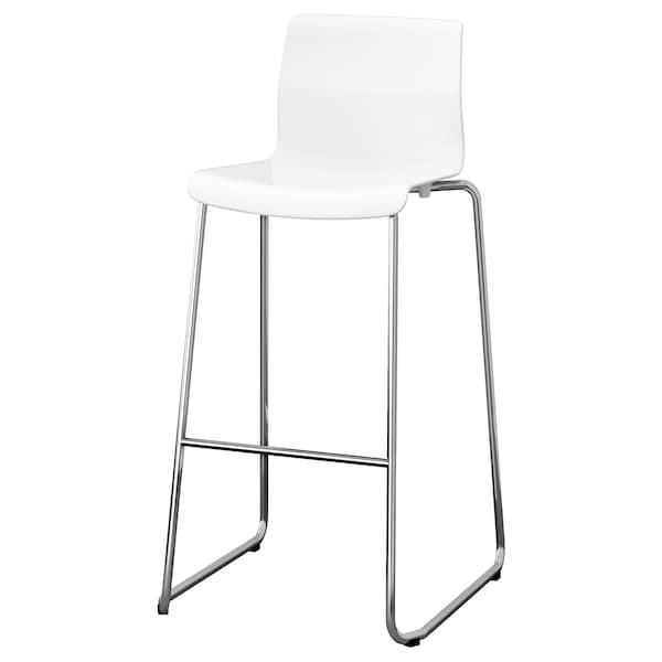 GLENN مقعد مرتفع, أبيض/طلاء كروم, 77 سم