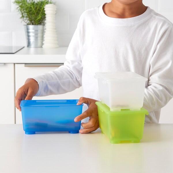 GLIS box with lid white/light green/blue 17 cm 10 cm 8 cm 3 pack