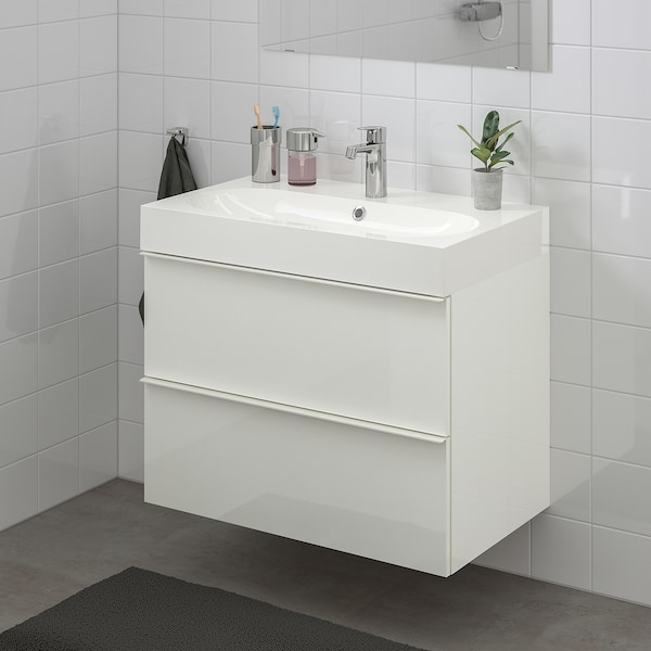 GODMORGON / BRÅVIKEN وحدة تخزين حمام 2 درج, لامع أبيض/حنفية Brogrund, 80x48x68 سم