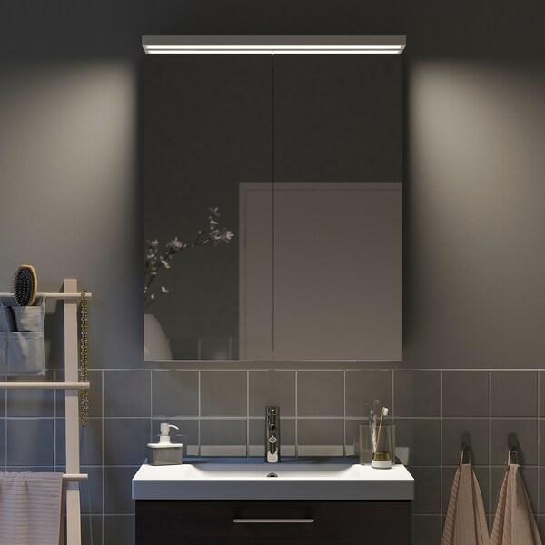 GODMORGON خزانة بمرآة مع بابين, 80x14x96 سم