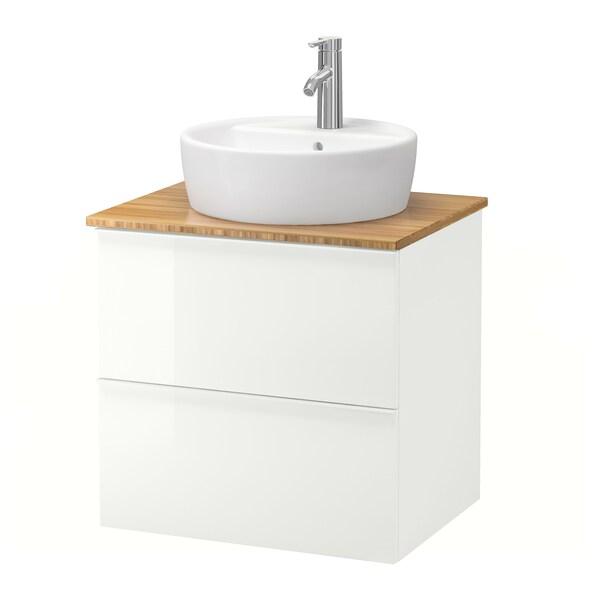 GODMORGON/TOLKEN / TÖRNVIKEN خزانة مع حوض غسيل سطحي 45, لامع أبيض/خيزران حنفية Dalskär, 62x49x74 سم