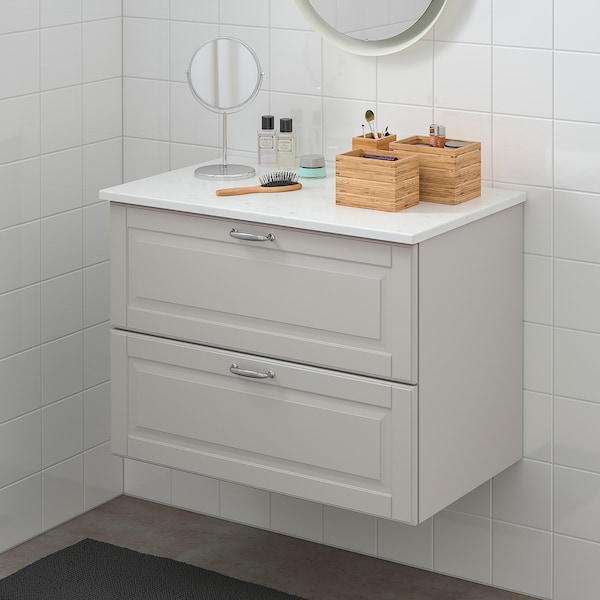 GODMORGON / TOLKEN Wash-stand with 2 drawers, Kasjön light grey/marble effect, 82x49x60 cm