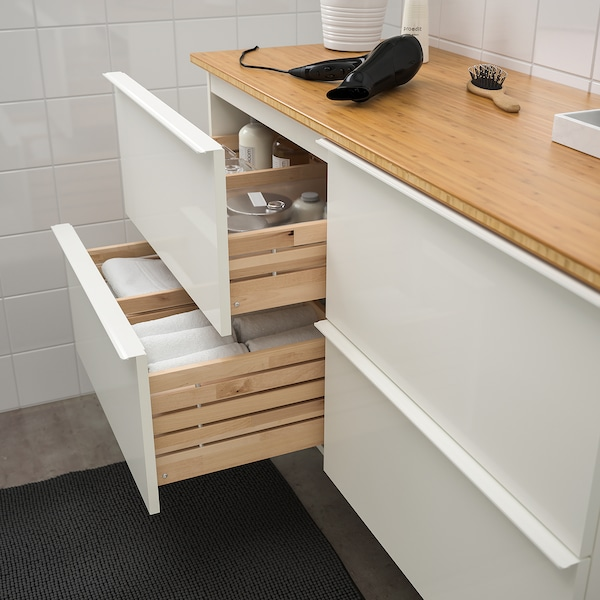 GODMORGON / TOLKEN وحدة تخزين حمام 4 أدراج, لامع أبيض/خيزران, 122x49x60 سم