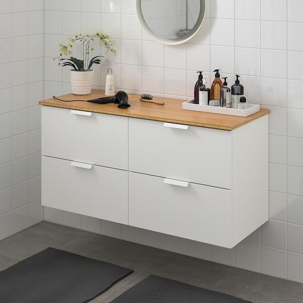 GODMORGON / TOLKEN وحدة تخزين حمام 4 أدراج, أبيض/خيزران, 122x49x60 سم