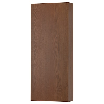 GODMORGON Wall cabinet with 1 door, brown stained ash effect, 40x14x96 cm