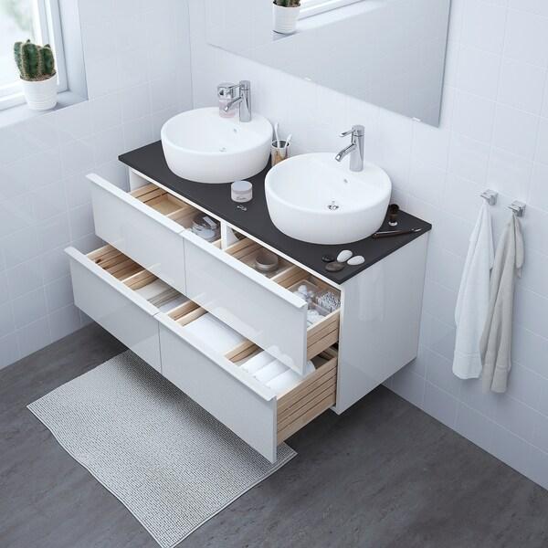 GODMORGON وحدة تخزين حمام 4 أدراج, لامع أبيض, 120x47x58 سم