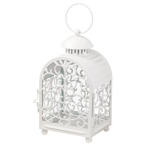 GOTTGÖRA lantern for candle in metal cup in/outdoor white 26 cm