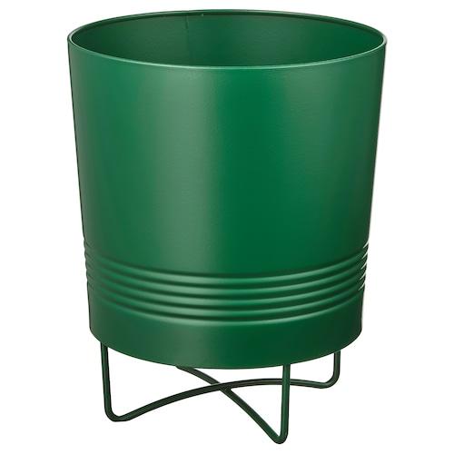 GRANATÄPPLE plant pot with stand in/outdoor dark green 21 cm 17 cm 15 cm 16 cm