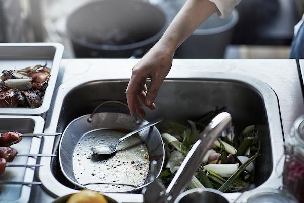 GRILLSKÄR وحدة حوض مطبخ/شواية فحم، خارجية, ستينلس ستيل, 344x61 سم