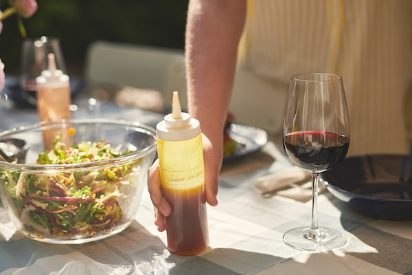 GRILLTIDER Squeeze bottle, plastic/transparent, 330 ml