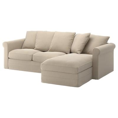 GRÖNLID كنبة بثلاث مقاعد مع أريكة طويلة, Sporda طبيعي