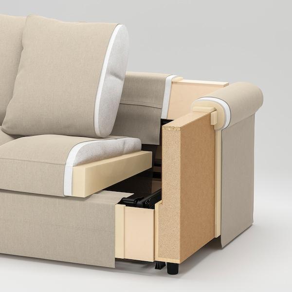 GRÖNLID كنبة زاوية، 3 مقاعد, مع طرف مفتوح/Ljungen أخضر فاتح