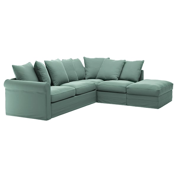 GRÖNLID غطاء صوفا-سرير زاوية، 4 مقاعد., مع طرف مفتوح/Ljungen أخضر فاتح
