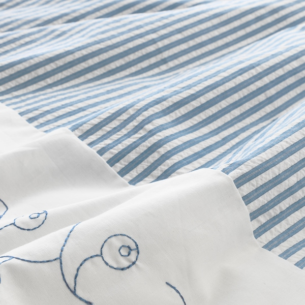 GULSPARV Quilt cover/pillowcase for cot, striped/blue, 110x125/35x55 cm