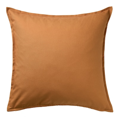 GURLI Cushion cover, brown-yellow, 50x50 cm