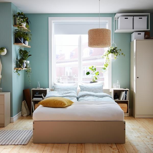 GURSKEN Bedroom furniture, set of 5, light beige