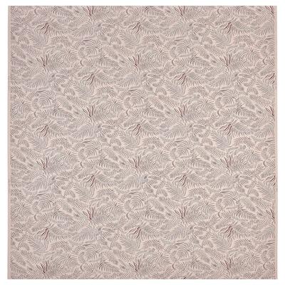 HAKVINGE Fabric, natural dark red/leaf patterned, 150 cm