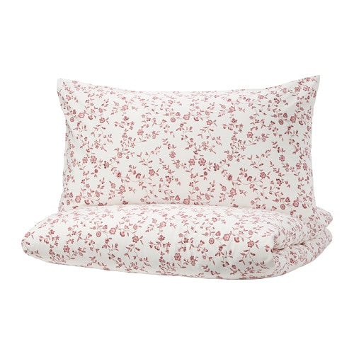 HÄSSLEKLOCKA Quilt cover and pillowcase, white, pink