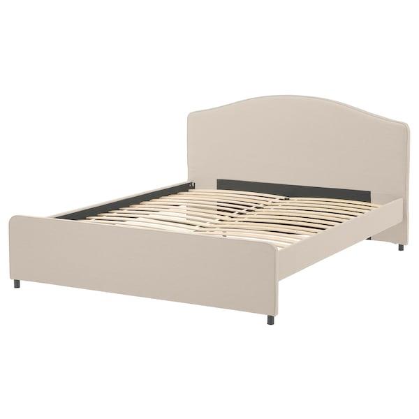 HAUGA Upholstered bed frame, Lofallet beige, 180x200 cm