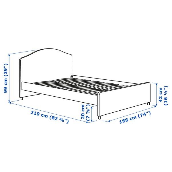HAUGA Upholstered bed frame, Vissle grey, 180x200 cm