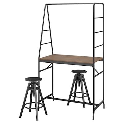 HÅVERUD / DALFRED طاولة ومقعدين, أسود/أسود, 105 سم