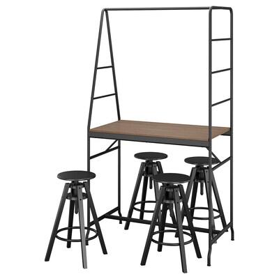 HÅVERUD / DALFRED طاولة و 4 مقاعد, أسود/أسود, 105 سم
