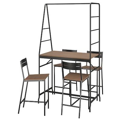 HÅVERUD / SANDSBERG طاولة و 4 مقاعد, أسود/صباغ بني, 105 سم