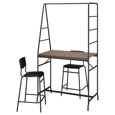 HÅVERUD / STIG طاولة ومقعدين, أسود/أسود, 105 سم