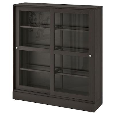 HAVSTA خزانة بباب زجاجي, زجاج شفاف بني غامق, 121x37x134 سم
