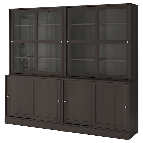 HAVSTA Storage comb w sliding glass doors, dark brown, 242x47x212 cm