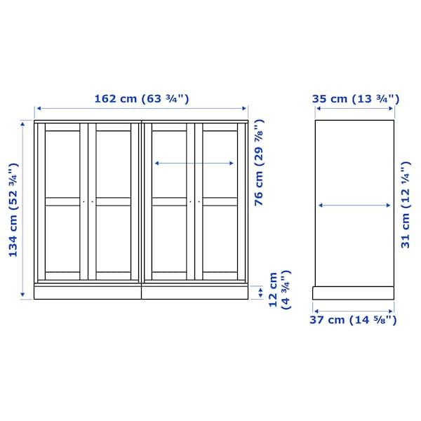 HAVSTA Storage combination w glass doors, white, 162x37x134 cm