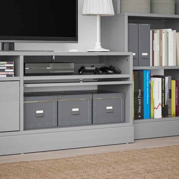 HAVSTA TV storage combination, grey, 282x47x212 cm