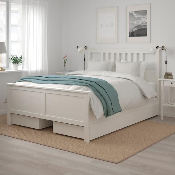 HEMNES Bed frame with 4 storage boxes, white stain/Leirsund, 160x200 cm