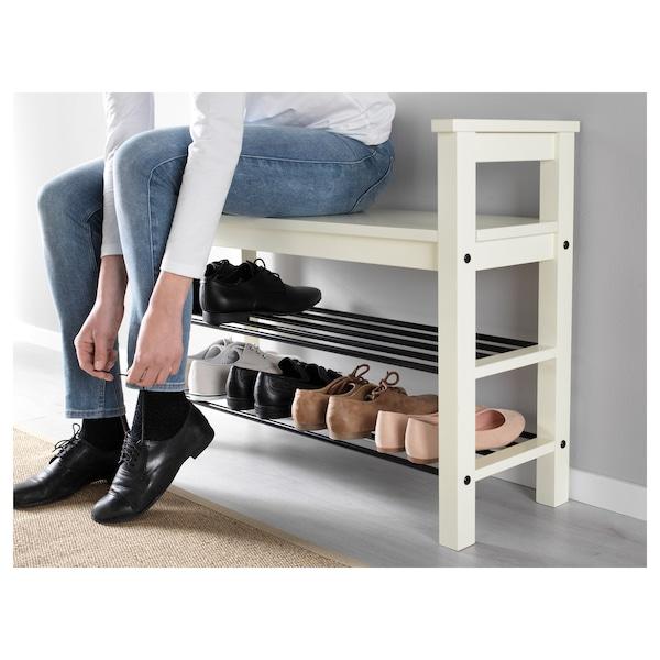 HEMNES مقعد مع تخزين للأحذية, أبيض, 85x32x65 سم
