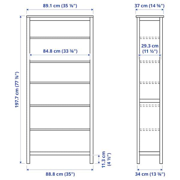 HEMNES Bookcase, black-brown/light brown, 90x197 cm
