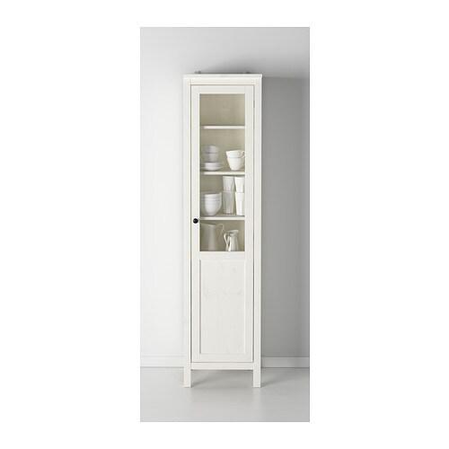 HEMNES Cabinet with panel/glass-door - white stain - IKEA