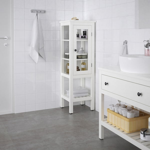 HEMNES خزانة عالية مع باب زجاجي, أبيض, 42x38x131 سم