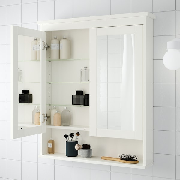 HEMNES خزانة بمرآة مع بابين, أبيض, 83x16x98 سم
